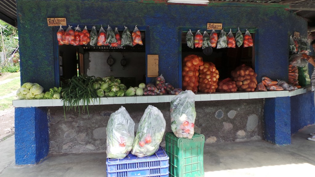Vegetables on sale near the town of Volcan