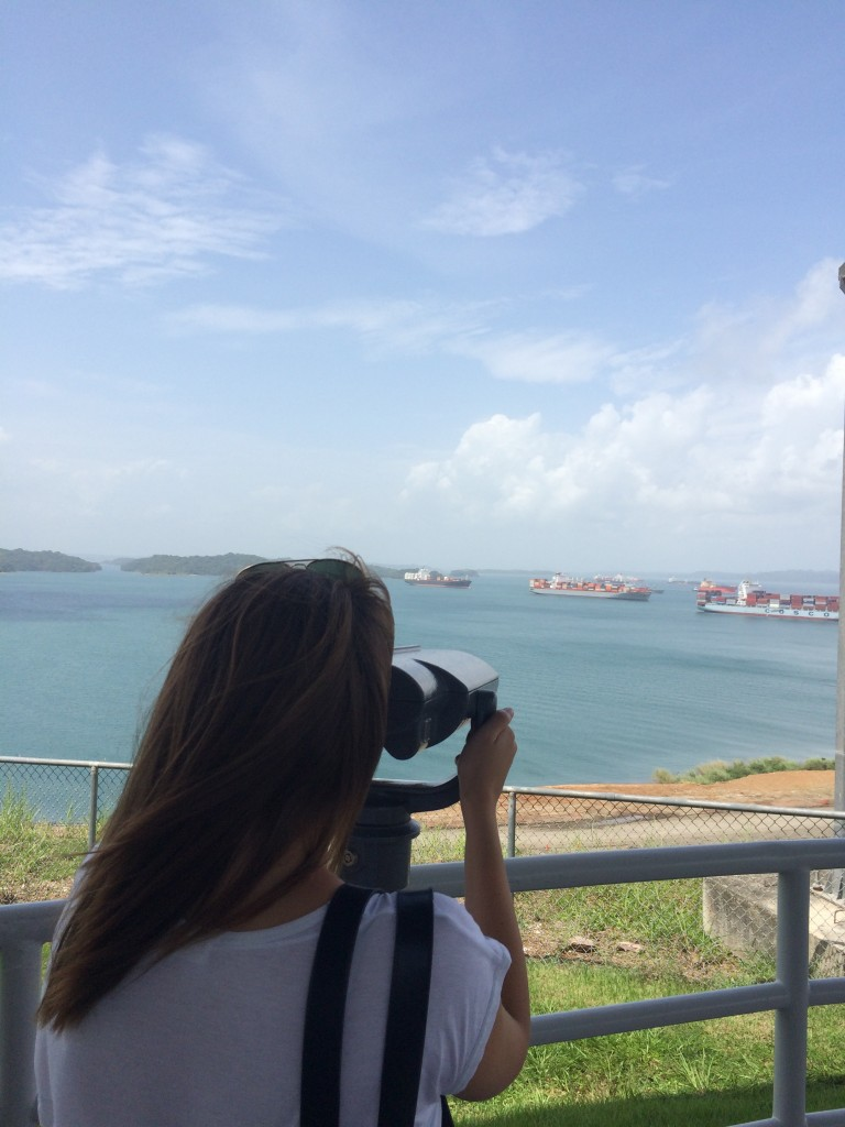 Enjoying the beautiful view over the Panama Canal