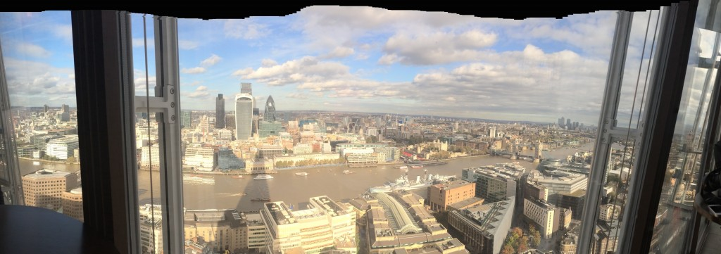 The view of London from the Aqua bar at the Shard