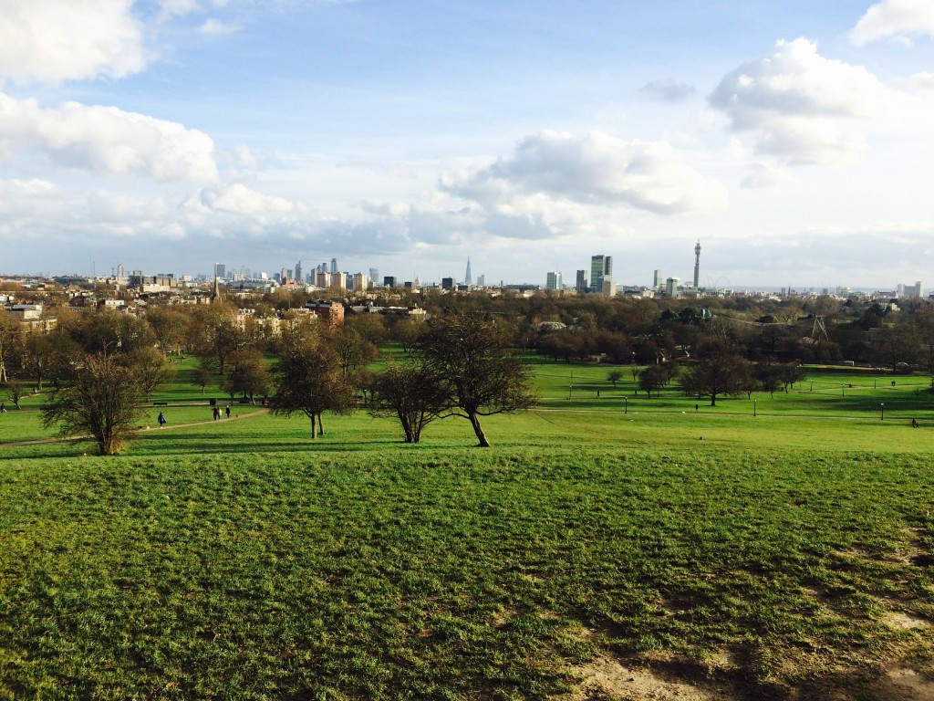 View of London from Primrose Hill on a chilly morning