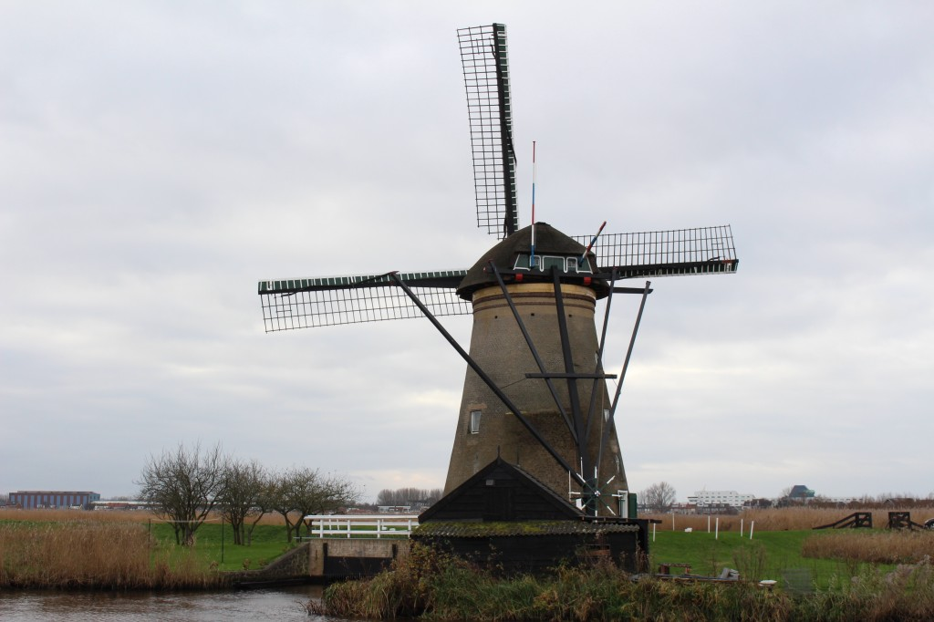 A windmill up close at Kinderdijk