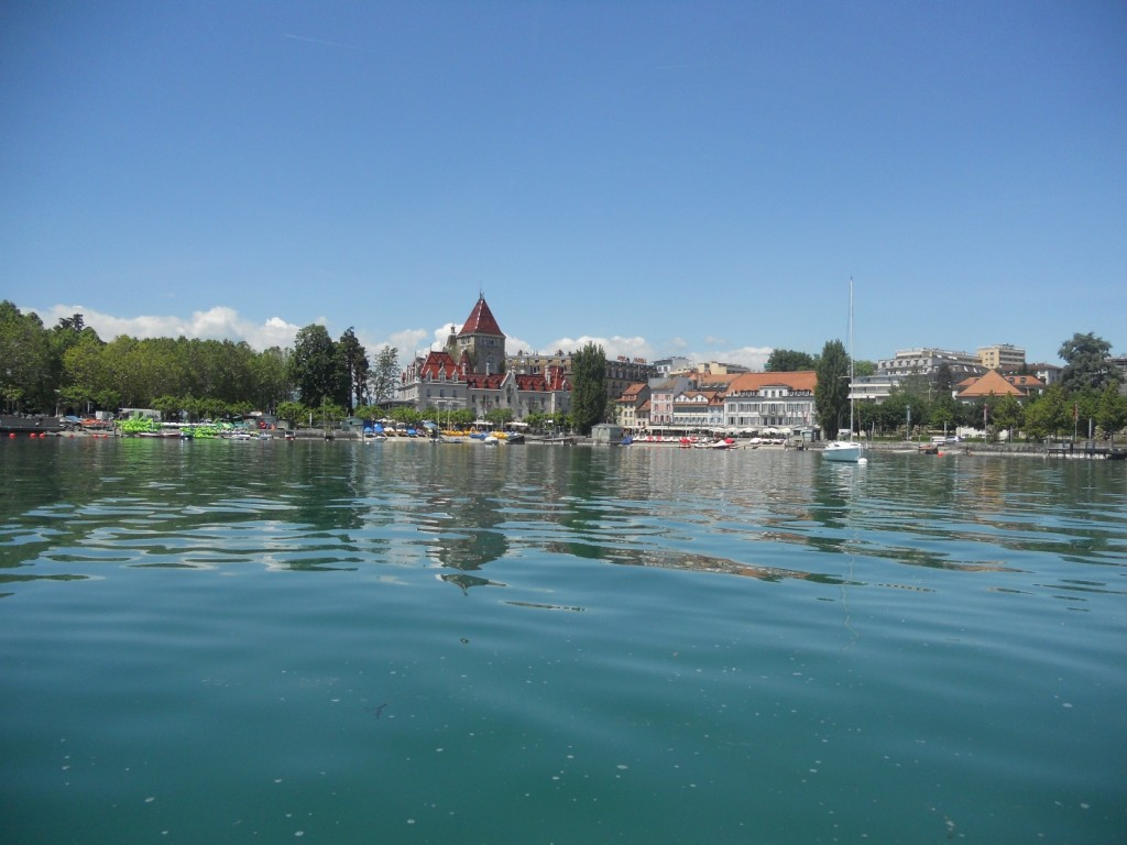 View of the Chateau dOuchy from a paddle boat