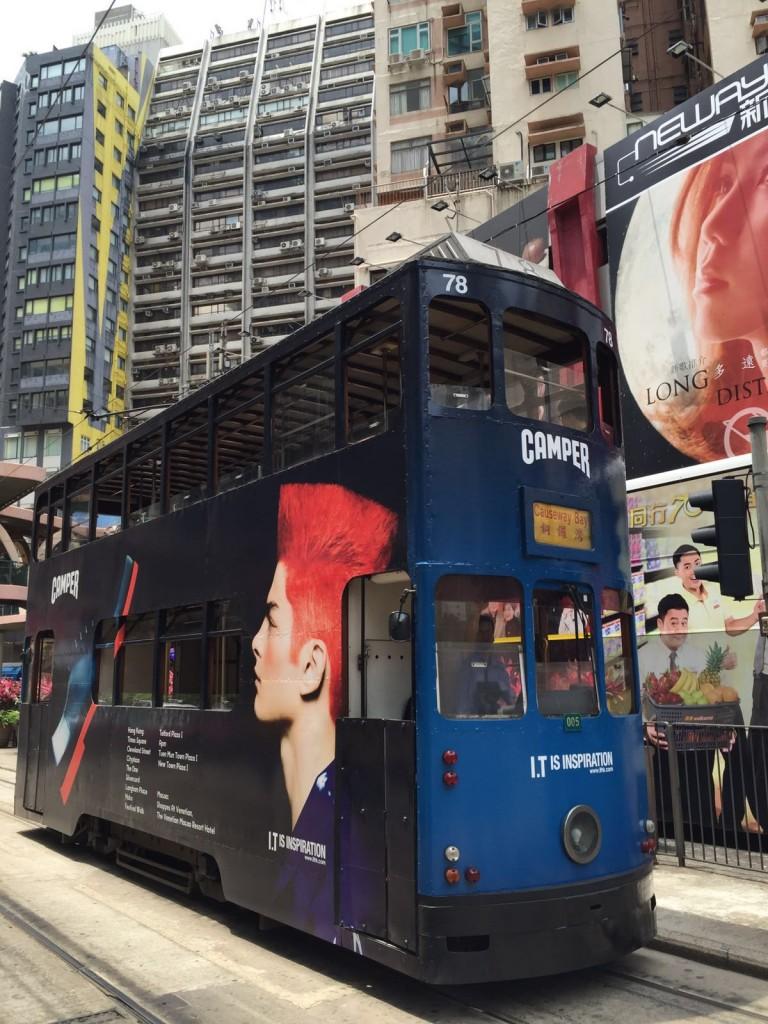 A double decker tram in Hong Kong