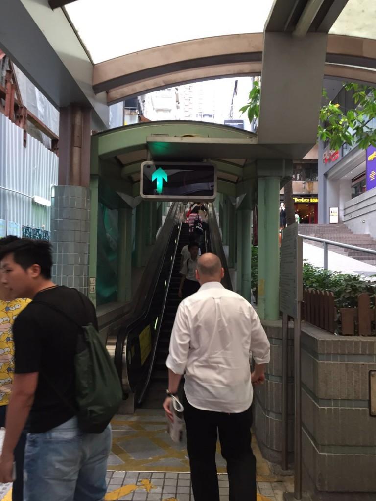 Entrance to midlevel escalators in Hong Kong