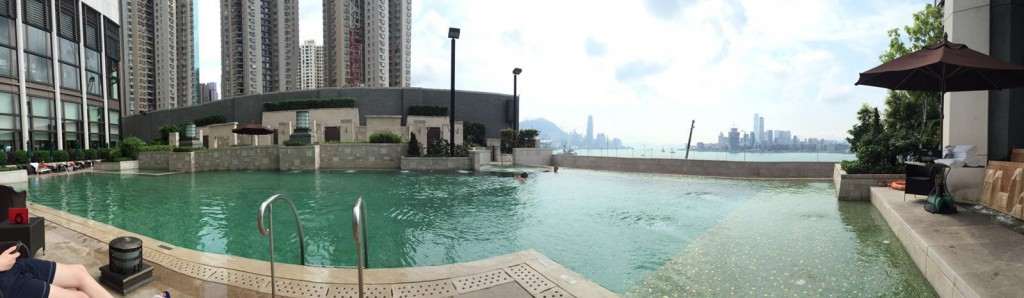 Relaxing by the swimming pool
