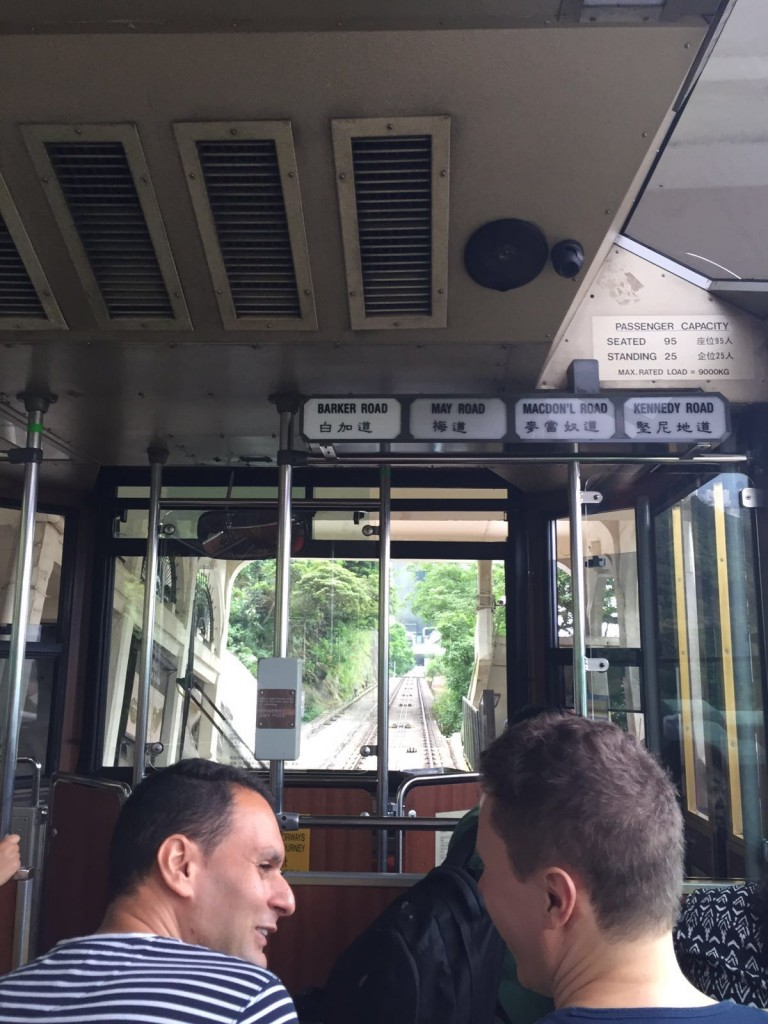 Taking the tram up to the Peak