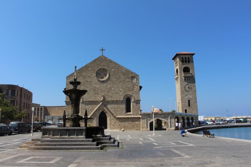 Rimini square at Mandraki harbour in Rhodes