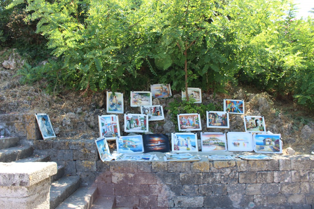Art being sold at the Medieval City in Rhodes.