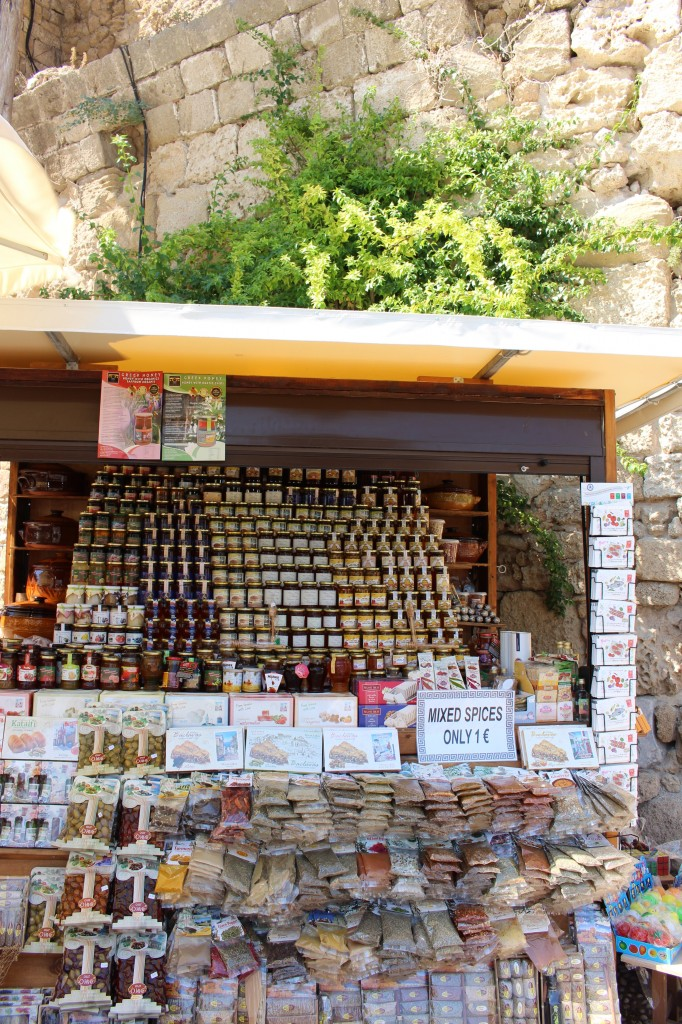 Greek condiments being sold in Rhodes
