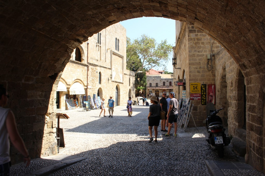 Walking towards the centre of the medieval city in Rhodes