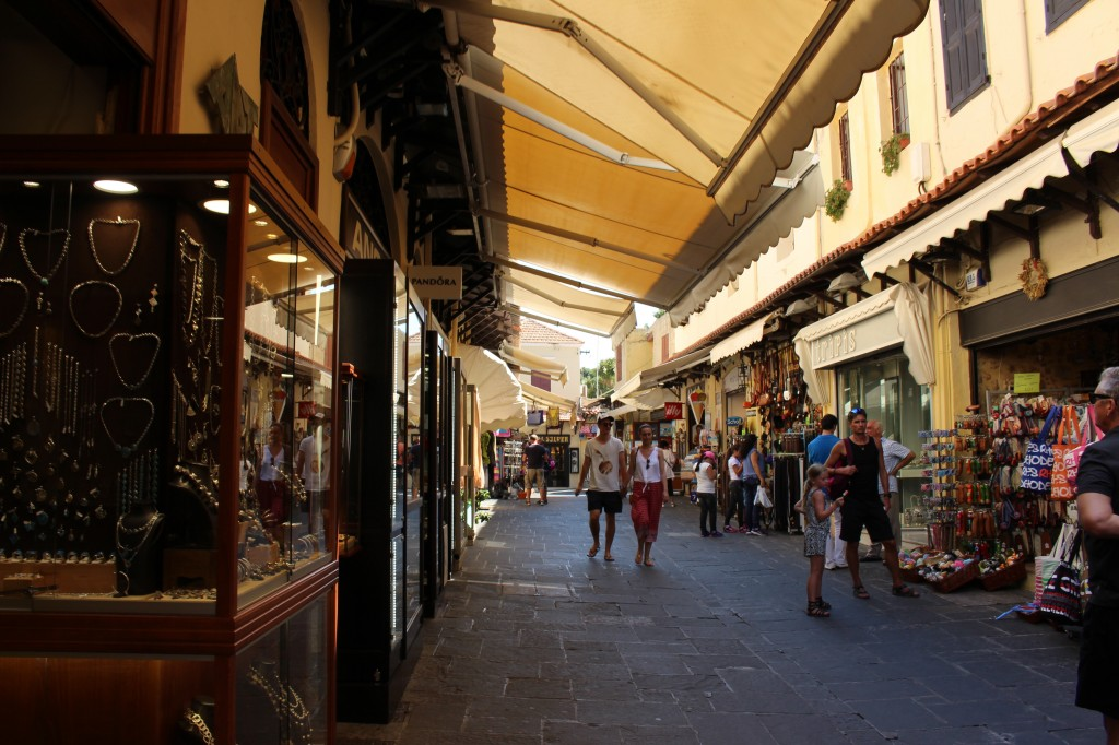 Shopping street in the medieval city of Rhodes.