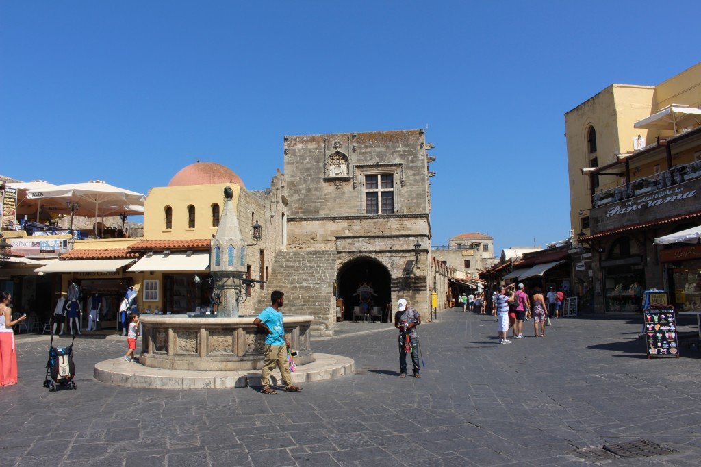 A square in the Medieval city of Rhodes.