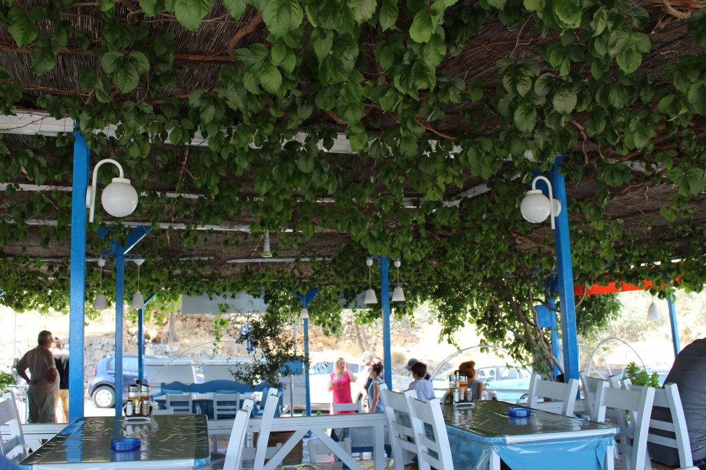 A restaurant at the entrance to Lindos in Rhodes, Greece