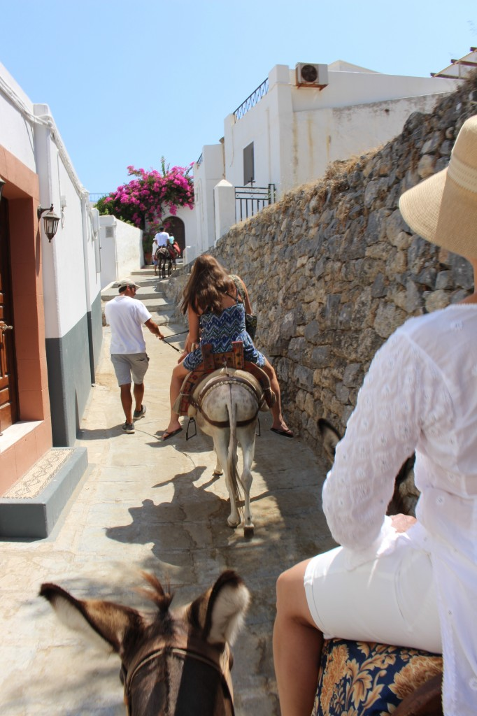 The donkey ride up to the Acropolis of Lindos