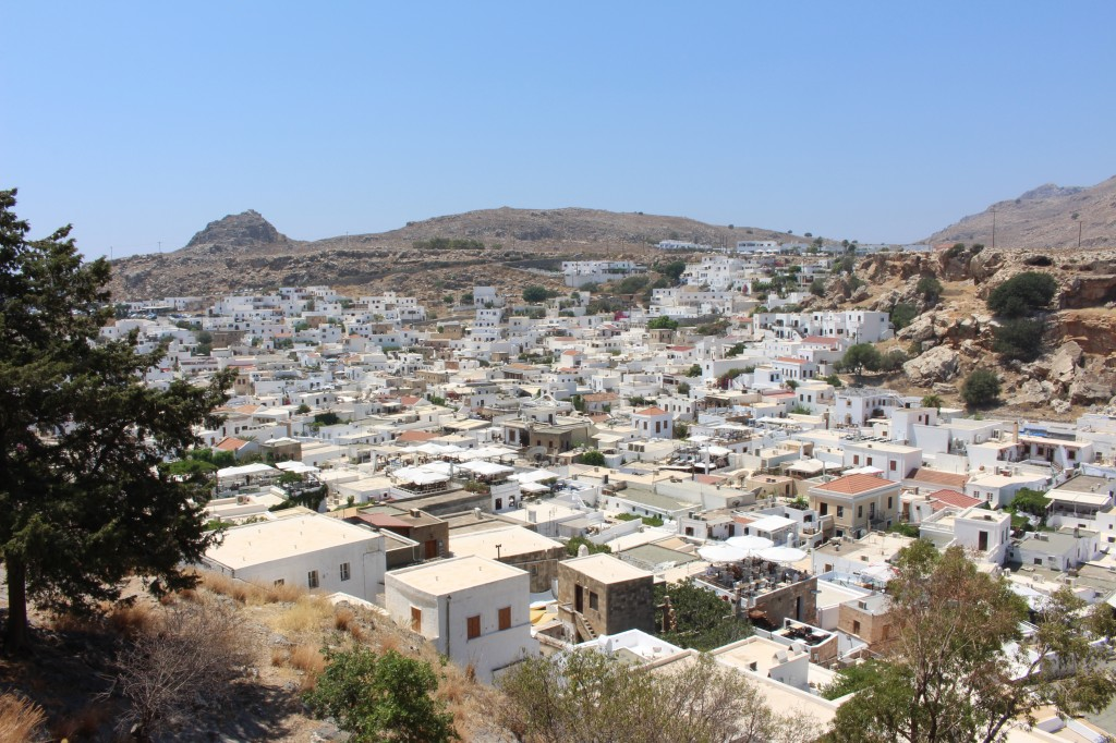 The view of Lindos while walking down from the Acropolis