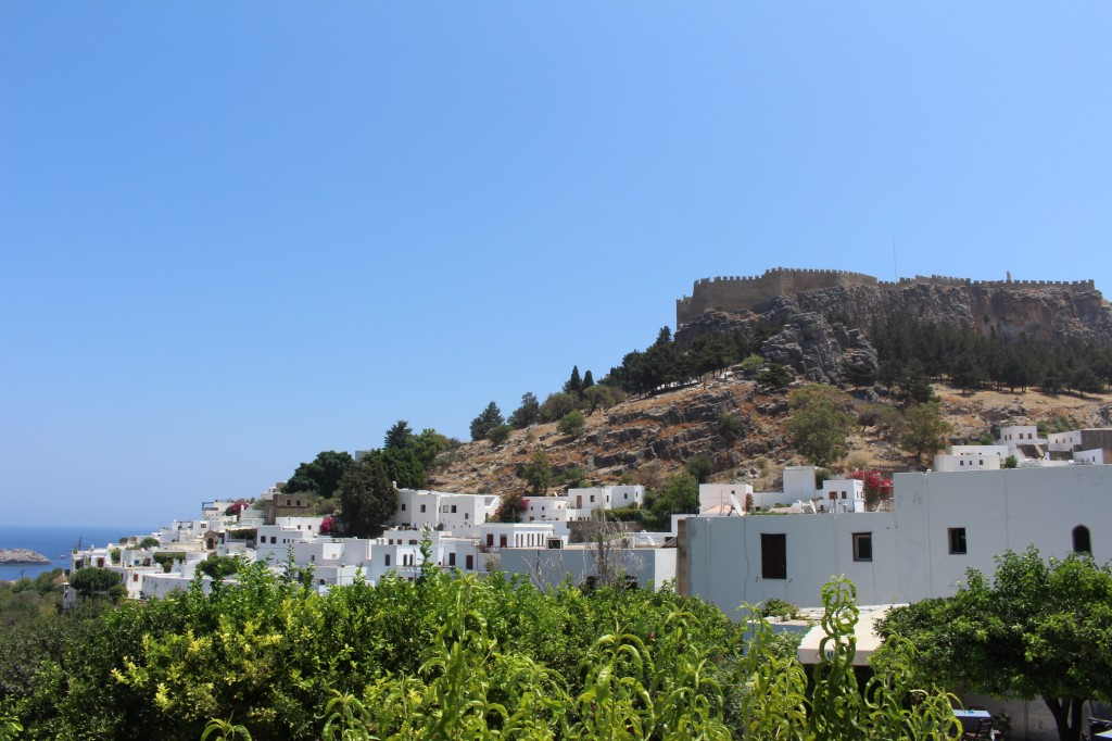 Lindos with the acropolis located at its top.