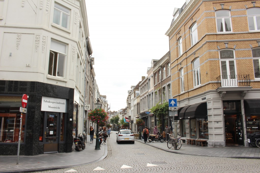 Streets of Maastricht filled with restaurants and shops