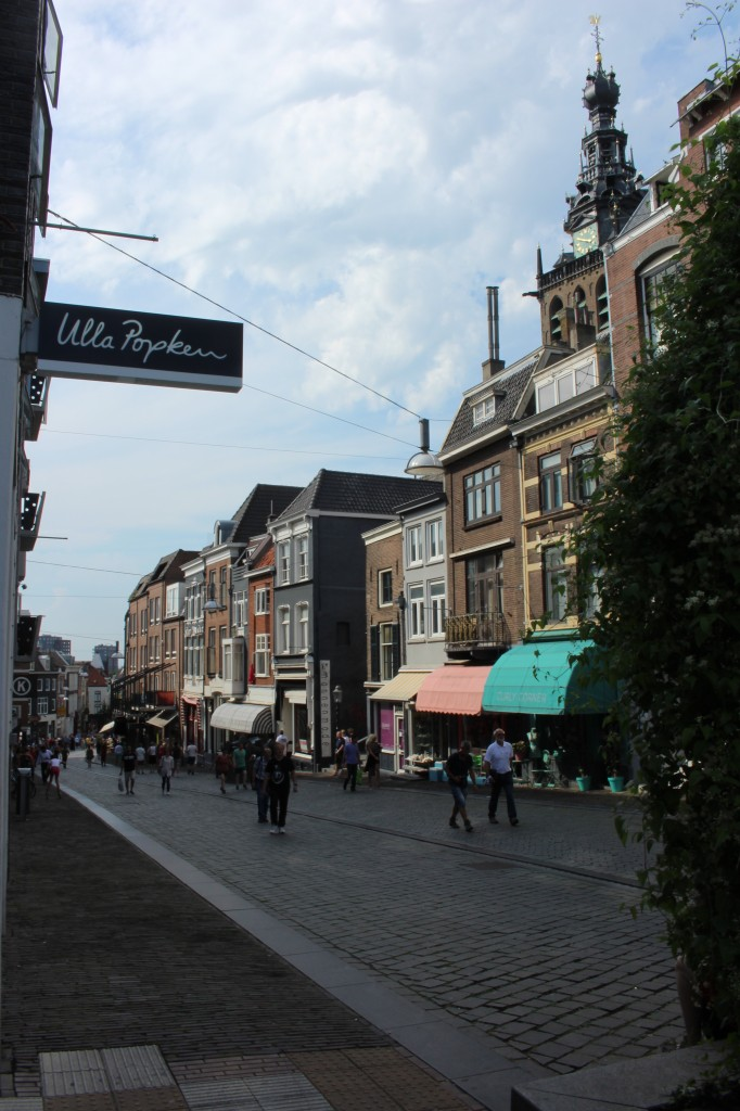 A street in the centre of Nijmegen going downhill